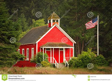 Cabin Plans With Porch little red schoolhouse with flag stock photo image 20331410