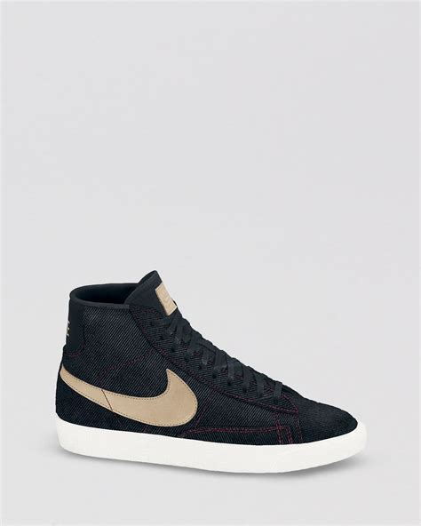 nike lace up high top sneakers womens blazer mid in black