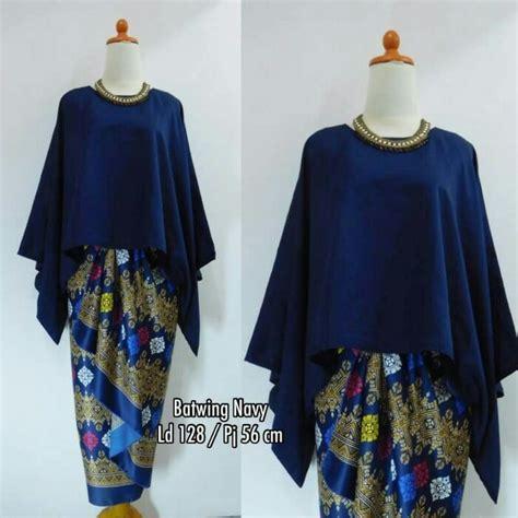 Stelan Kebaya Navi stelan atasan blouse kebaya batwing dan rok lilit wanita