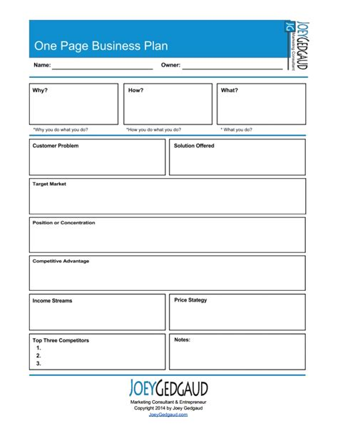 template for business plan free free one page business plan template 2016 free business