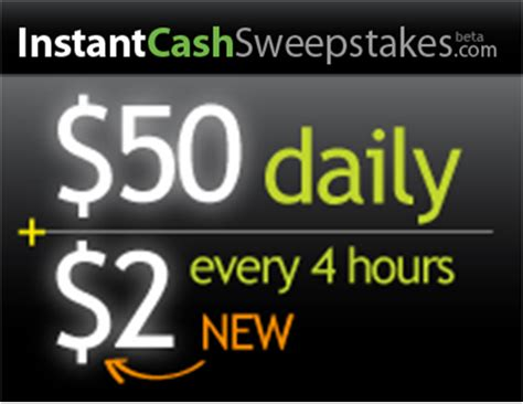 Drawing 4 Hours A Day by Instantcashsweepstakes Win A 50 Daily Lottery Prize