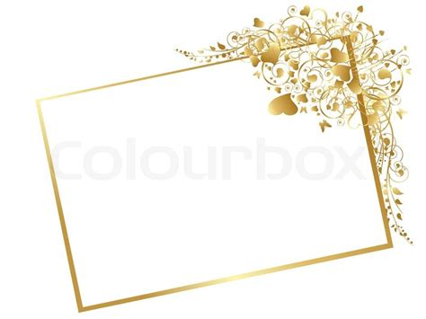 Illustration of floral golden frame with swirls, butterfly
