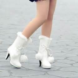 Winter white high heel boots