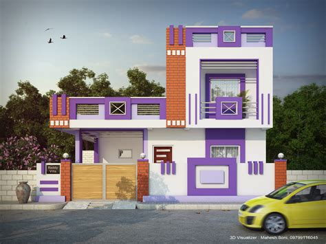 colour in house design small house pink purple color combination elevation design by mahesh elevation
