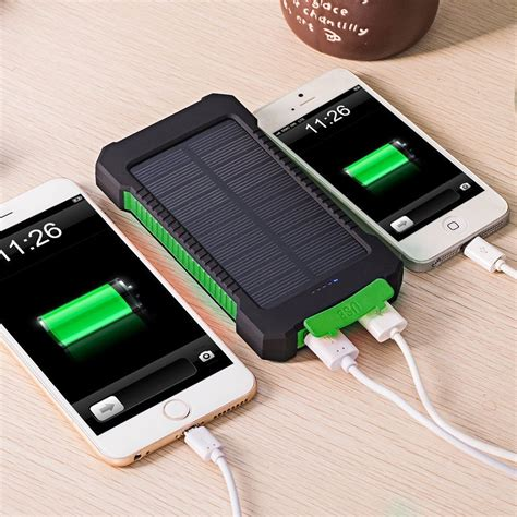 android usb resistor dcae real 10000mah power bank waterproof shock drop resistance dual usb travel solar charger