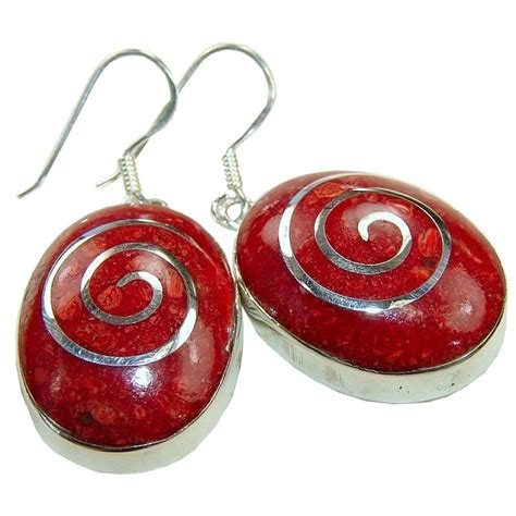 925 Sterling Silver Coral Earrings sterling silver coral earrings earrings with sponge
