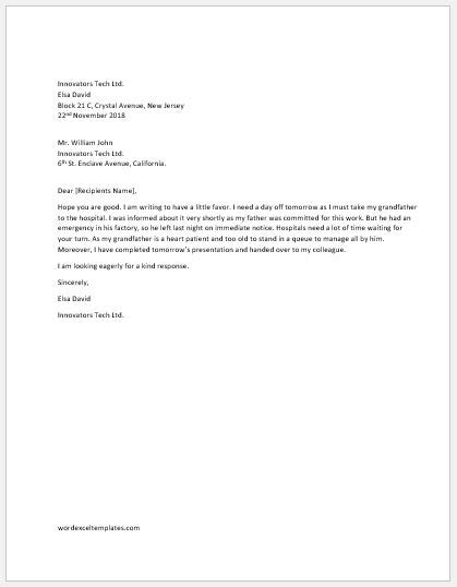 One Day Off Request Letter To Boss Word Excel Templates Day Request Email Template