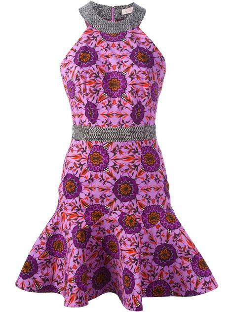 pattern peplum dress lyst matthew williamson floral pattern peplum dress in gray