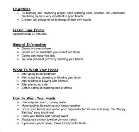 Sample Toddler Lesson Plan Template   8  Free Documents in