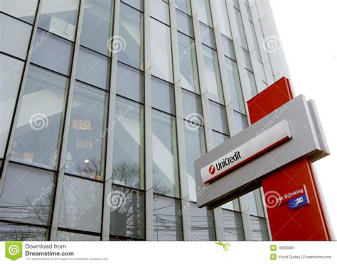 uni credit bank unicredit bank headquarters in bucharest editorial photo
