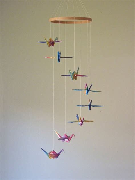 origami mobile origami crane mobile baby mobile children decor eco
