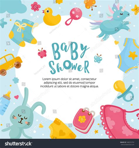 Baby Shower Place Cards Template baby shower card template frame stock vector