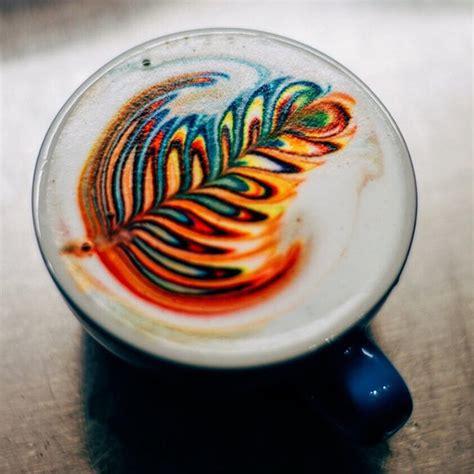 latte art leaf pattern rainbow latte art with colorful leaf patterns vuing com