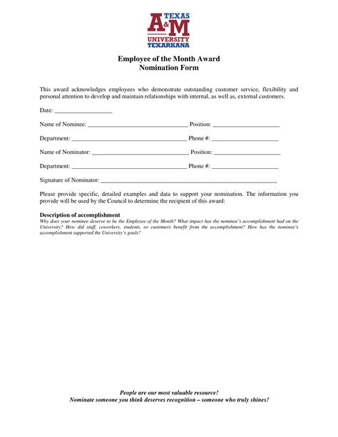 employee   month voting forms