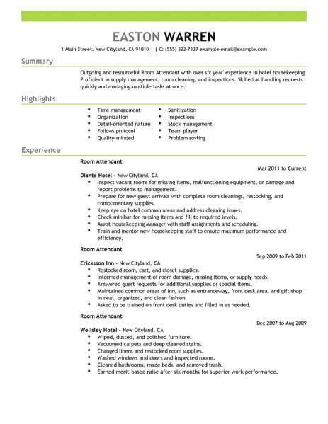 best room attendant resume exle livecareer