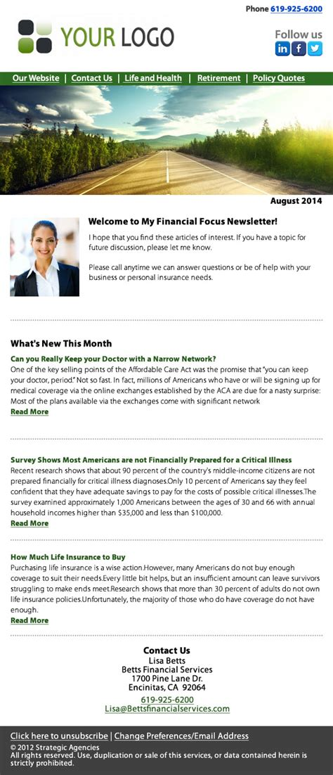 Insurance Newsletter Email Sles Insurance Newsletters