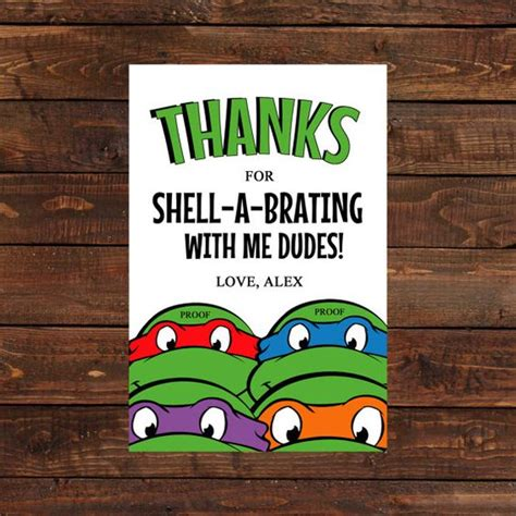 mutant turtles card template mutant turtle thank you card by
