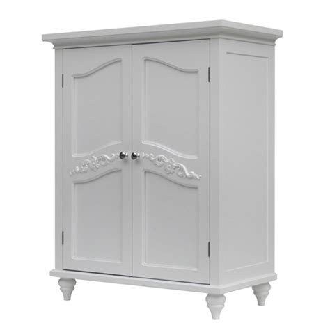 White Bathroom Floor Storage Cabinet Bathroom Linen Storage Floor Cabinet With 2 Doors In Traditional White Wood Finish