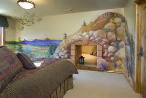 Whimsical Wall Murals cool kids room with secret room baby almost home