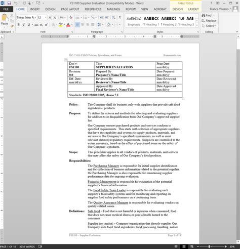 Supplier Evaluation Letter Template doc 460595 vendor evaluation form vendor evaluation