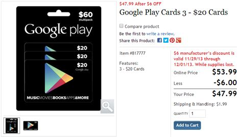 Buy Costco Gift Card With Credit Card - deal alert costco selling three packs of 20 google play gift cards for 48 12 off
