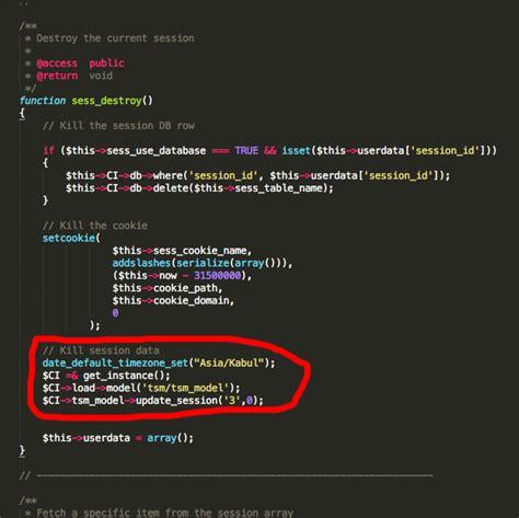 codeigniter code update php codeigniter update custom table in sess expiration