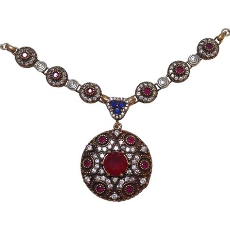 Ruby Pendant Silver Necklace ruby sapphire pendant necklace silver vintage india from