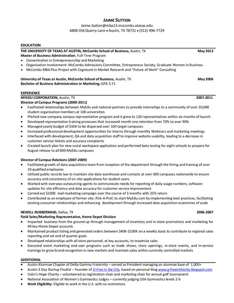 Business School Resume by Ut Resume Resume Ideas