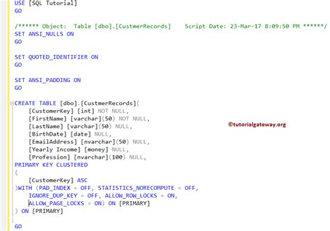 Sql Create Table Primary Key by Sql Primary Key Constraint
