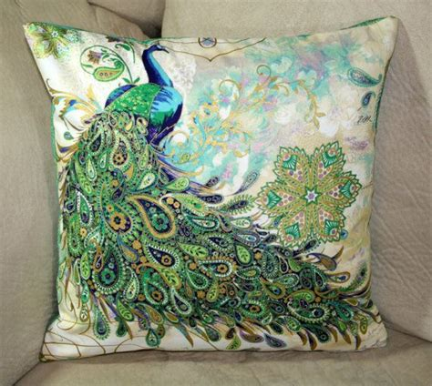 turquoise 17 quot cushion pillow cover peacock silk brocade 17 best images about hand painted fabrics on pinterest