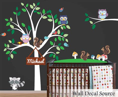 Nursery Wall Decals Animals Items Similar To Nursery Wall Decal Animals Decal Vinyl Nursery Tree On Etsy