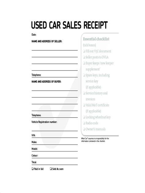 generic car sales receipt template 7 generic receipt exles sles