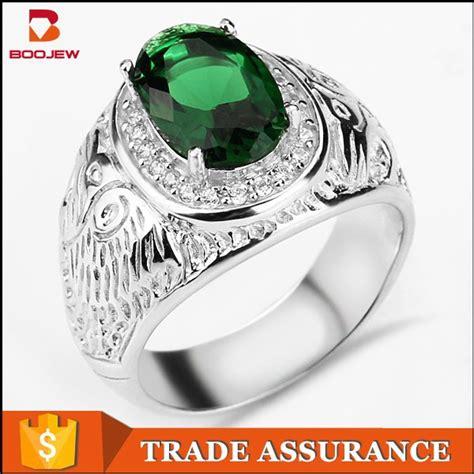 Design Wedding Ring With Gemstones by Popular Design Modern Silver Wedding Ring Green Gemstone