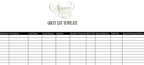 excel template for wedding guest list best photos of hotel guest list template free printable
