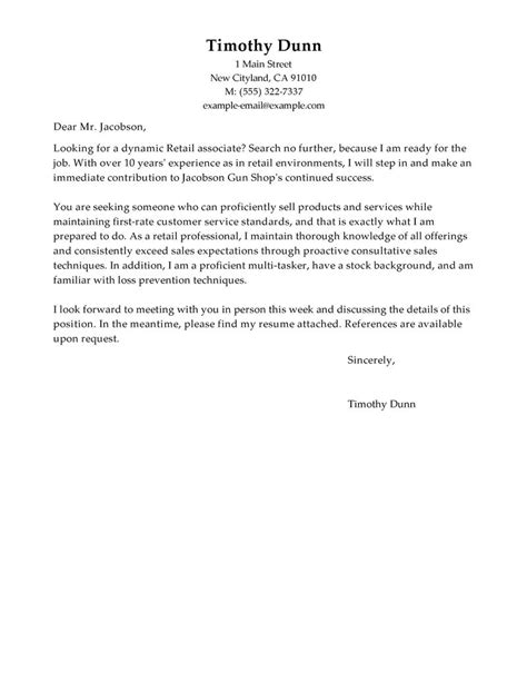 Cover Letter Exle For Retail by Best Retail Cover Letter Exles Livecareer