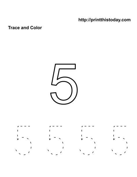 printable tracing number 5 free kindergarten math worksheets number five 5