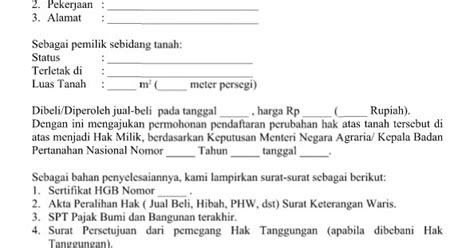 contoh surat permohonan pendaftaran perubahan hgb menjadi hak milik