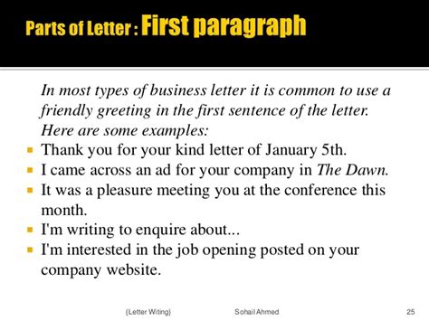 Official Letter Opening Sentence Letter Writing By Sohail Ahmed