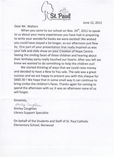 Thank You Letter For Classroom Donation June 2012 Creation Of