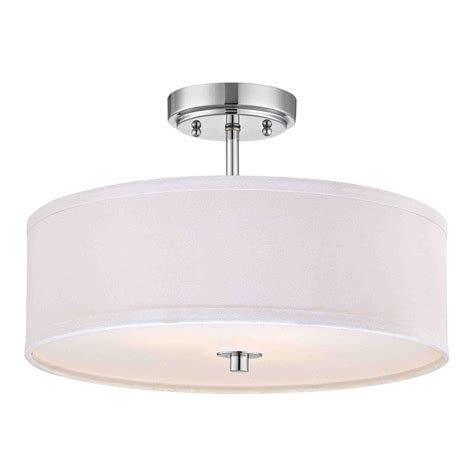 Chrome Semi Flush Light With White Drum Shade 16 Inches White Drum Ceiling Light