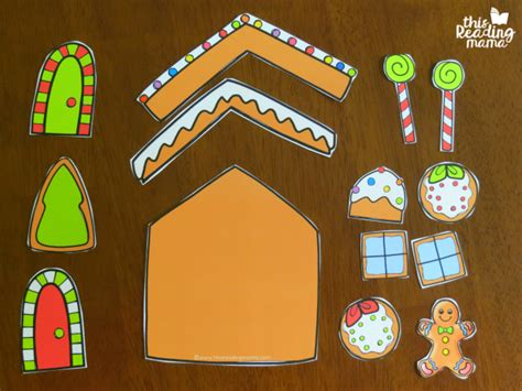printable gingerbread house pieces roll a gingerbread house math game this reading mama
