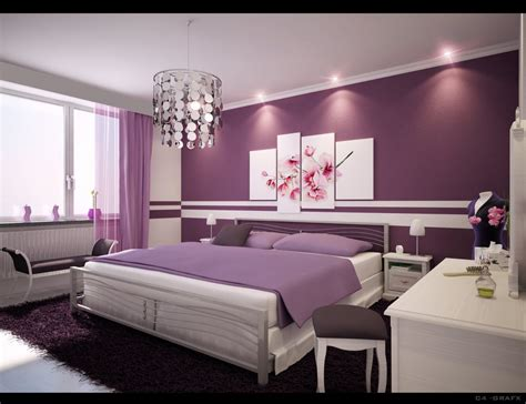 bedroom decoration for room ideas purple wall paint chandelier bench white
