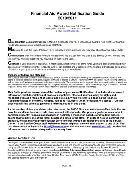 Bmcc Financial Aid Office by Bmcc 2010 11 Financial Aid Award Notification Guide Fang