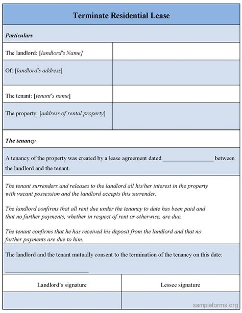 Residential Lease Notice Of Termination Terminate Residential Lease Form Sle Terminate Residential Lease Form Sle Forms