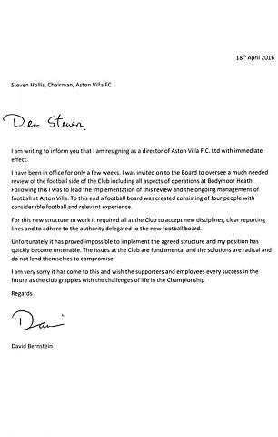 Bittersweet Letter Of Resignation aston villa owner randy lerner fell out with former board