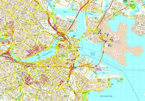 boston map boston map eps illustrator vector city maps usa america