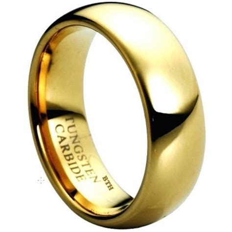 8mm gold ip tungsten carbide comfort fit wedding