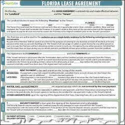 Rental Agreement Florida Template florida lease agreement