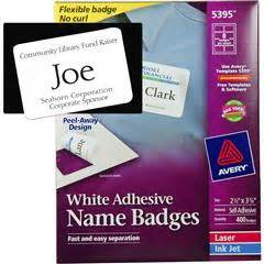 Avery 5395 White Adhesive Name Badges 2 1 3 X 3 3 8 Quot 3x2 Label Template