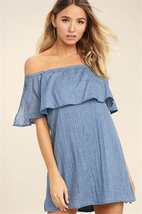 Dress Hello Denim denim blue dress the shoulder dress shift